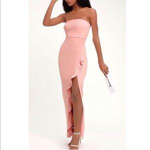 Lulu's After Hours Strapless Ruffle Dress